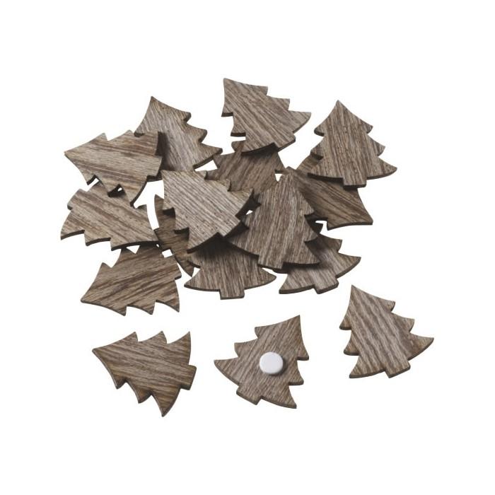 Sapins en bois, 2,5cm, brun, 24 pcs