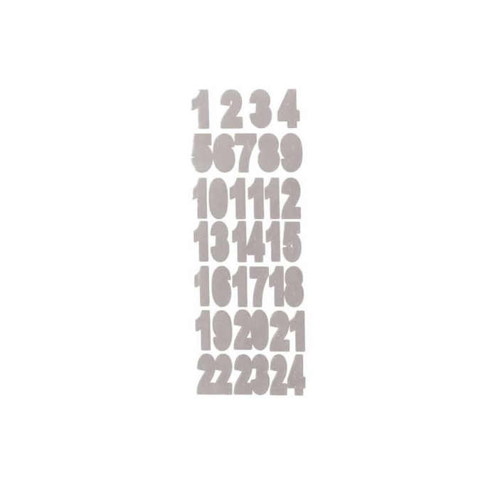 Stickers Numbers silver from 1 to 24, 3.1cm
