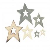 Estrelas de madera, natural y gris, 12 pz
