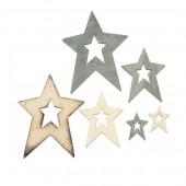 Wooden Stars, nature-greyblue, 12 pcs