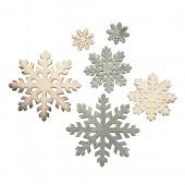 Copos de nieve de madera, natural y gris, 12 pz