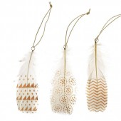 Printed feathers, white-gold, 3 pcs