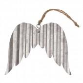 Ailes d'ange en métal ondulé, 9x8x0.03cm, argent, 1 pce