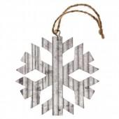 Copo de nieve en metal, 8x8x0.1cm, plata, 1 pz