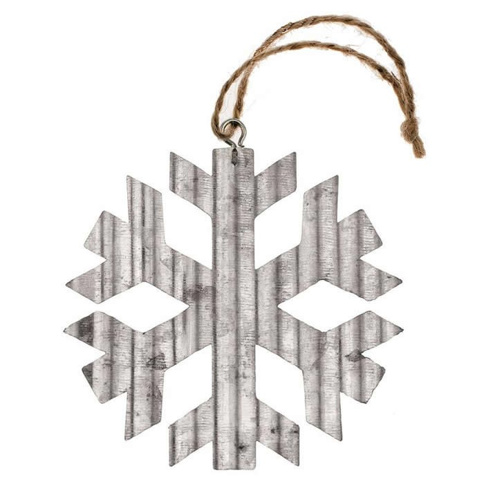 Flocon en métal ondulé, 8x8x0.1cm, argent, 1 pce
