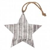 Estrella en metal, 7.5x7.5x0.1cm, plata, 1 pz