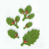 Hojas de acebo, fieltro verde, 4-9.5cm, 15 pz