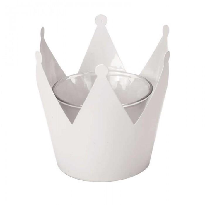 Bougeoir en métal couronne avec verre, 10x10x9.5cm, blanc