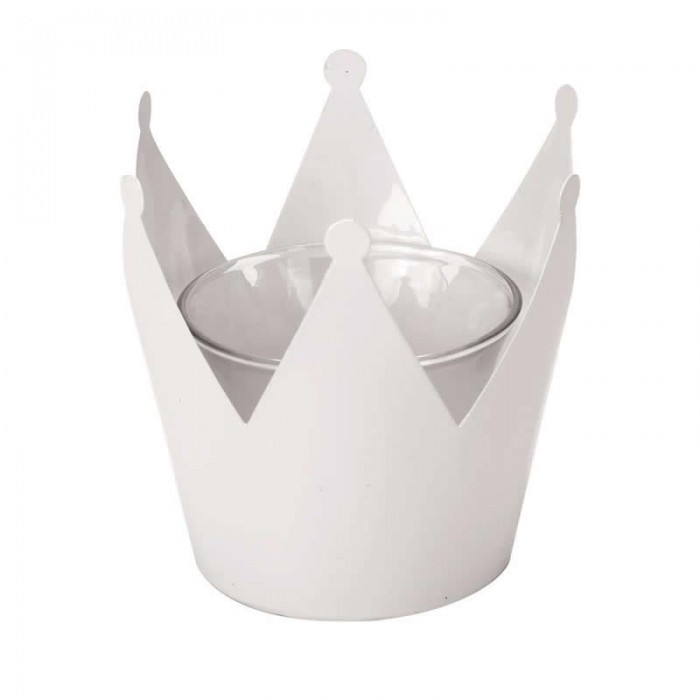 Candle holder crown, 10x10x9.5cm, white metal with glass