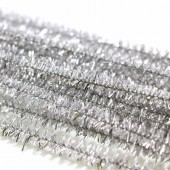 Pipe cleaners, 8mm/50cm, 10 pcs, silver