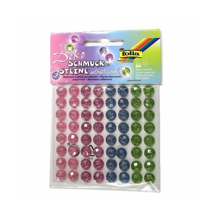 Strass autocollants, couleurs assorties sugar, 10mm