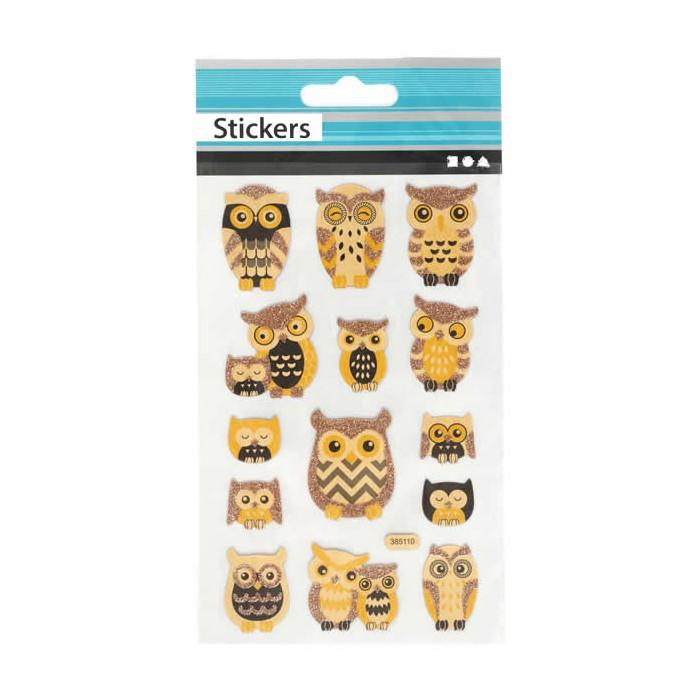Stickers hiboux et nostalgie 10x16cm