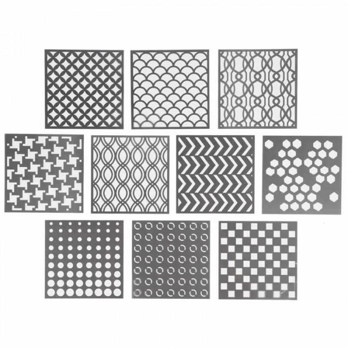 Set de 10 pochoirs Graphic 15x15cm