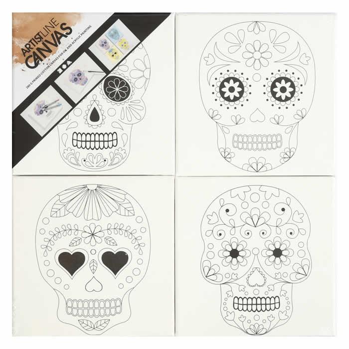 Toiles à peindre pré-imprimées tête de mort