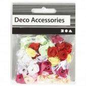 Petites roses en tissu, 14-18mm, 50 pcs