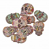 Wooden Buttons Skull, 24.5x17.5mm, 10 pcs