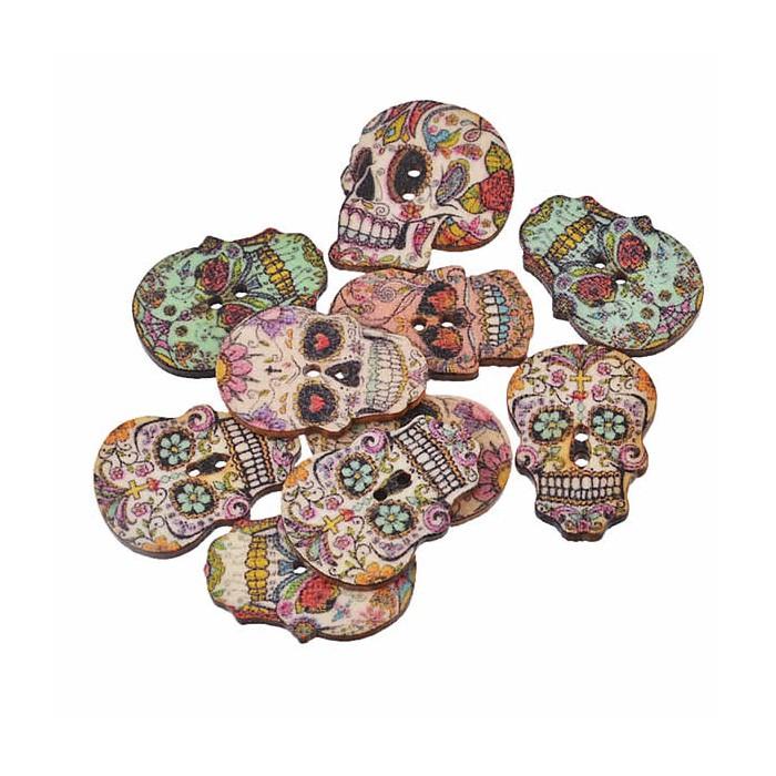 Boutons en bois motif crâne, 24.5x17.5mm, 10 pcs
