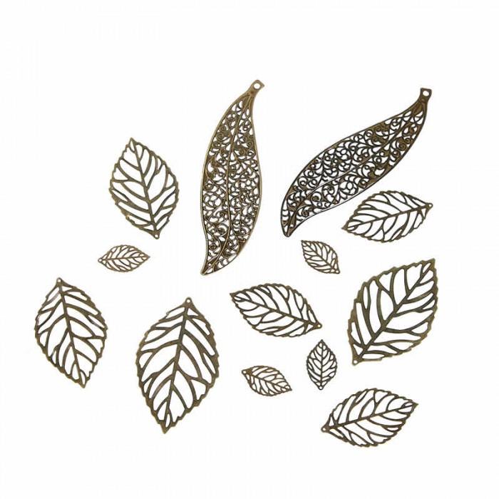 Pendentifs filigrane feuilles 1.3 à 10.4cm, 10 pcs