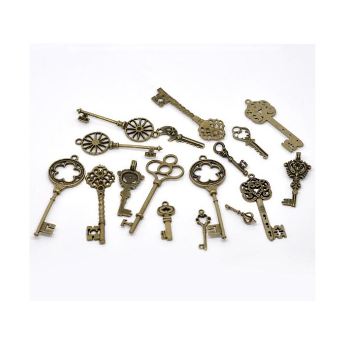 Clés bronze, 33 à 69mm, 24 pcs