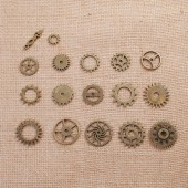 Steampunk gears bronze, 12-26mm, 17 pcs