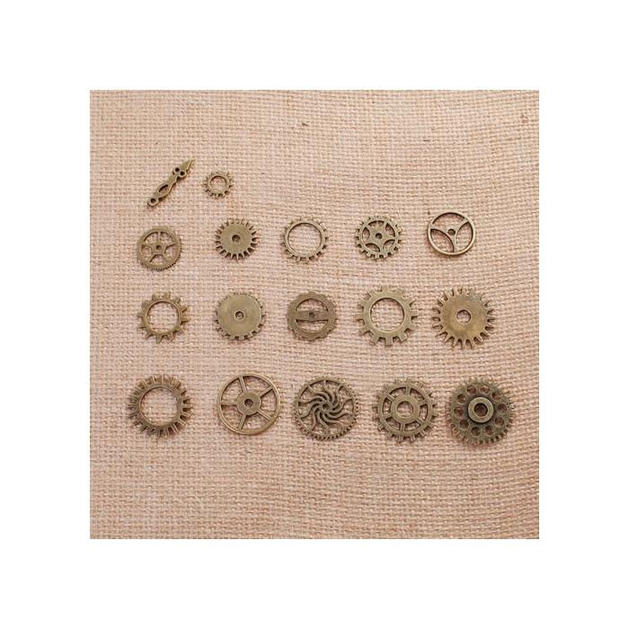 Steampunk gears bronze, 12-26mm, 17 pcs