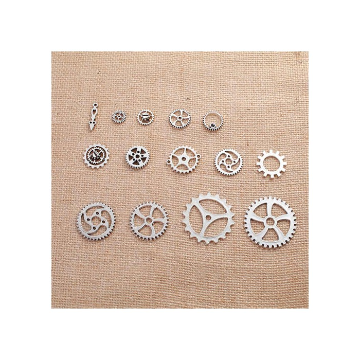 Steampunk gears silver, 10-41mm, 14 pcs