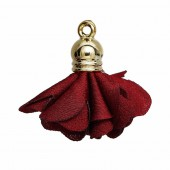 Polyester flower pendant with end cap 27x25mm, winered, 2 pcs