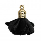 Polyester flower pendant with end cap 27x25mm, black, 2 pcs