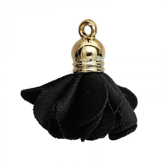 Pendentif fleur en polyester 27x25mm, noir, 2 pcs