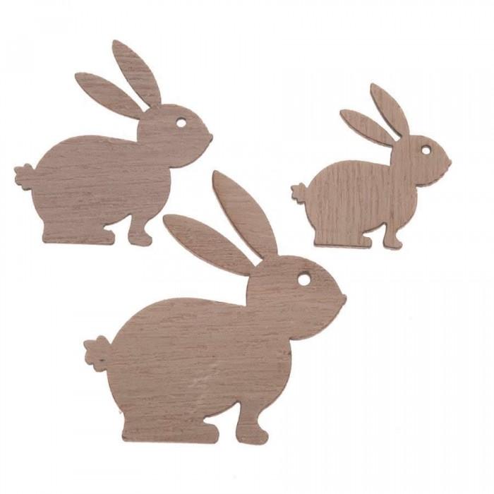 Lapins en bois, 3-5cm, 9 pces