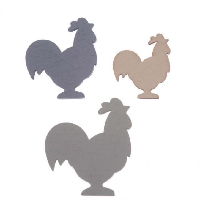 Poules en bois bleu-crème, 2.7-4cm, 9 pces