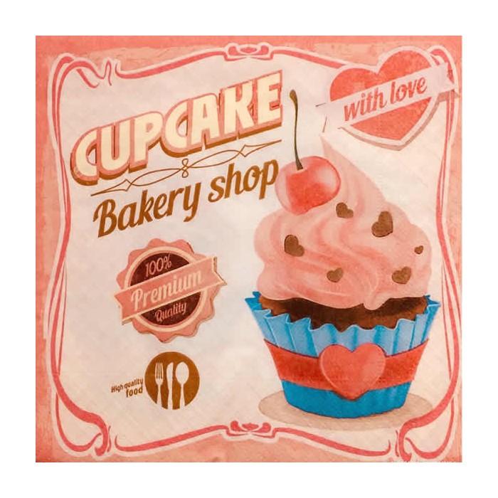 Serviette Cupcake with love, 1 pièce