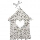 Maison en rotin, blanc, 30cm