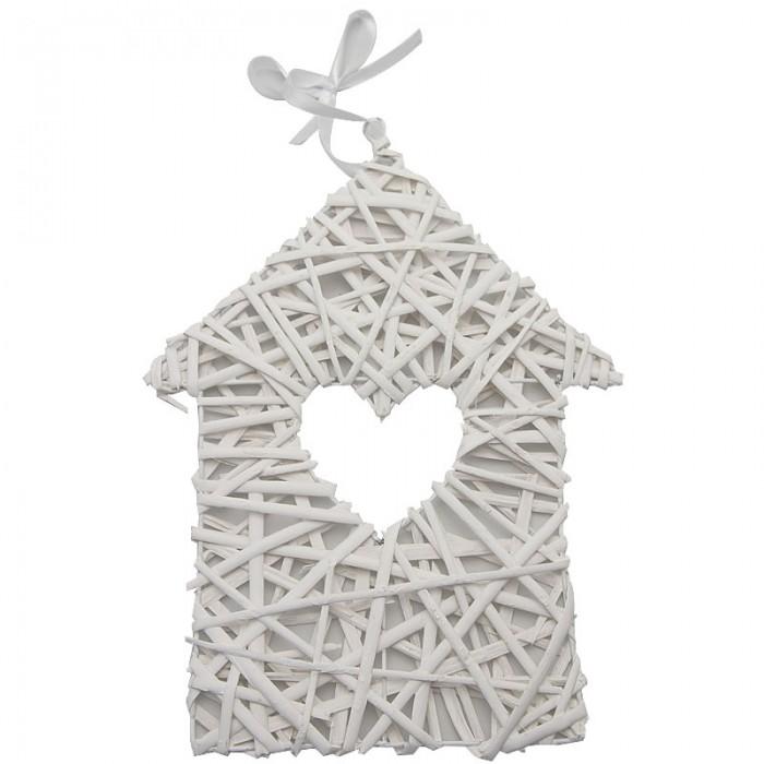 Rattan house white, 30cm