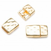 Hammered magnetic clasp for flat leather 10mm, gold, 1 pce