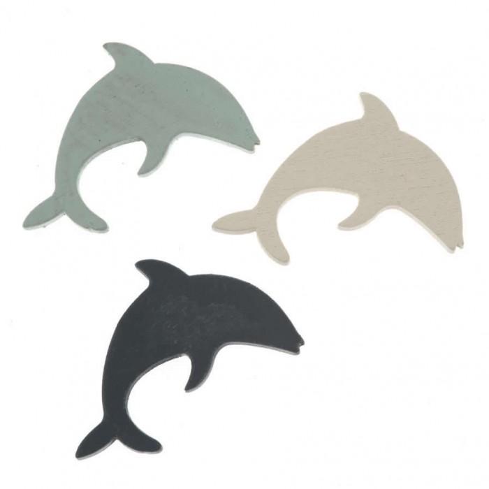 Dauphins en bois, bleu, 3.7cm, 9 pcs