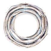 Wicker wreath, white-blue, 26.5cm