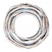 Wicker wreath, white-blue, 26.5cm