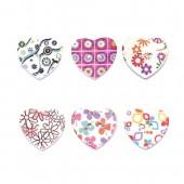 Assortiment de boutons en bois imprimés, coeur, 15 pcs