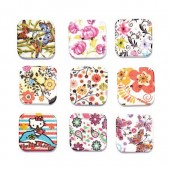 Printed wooden buttons square, 15 pcs