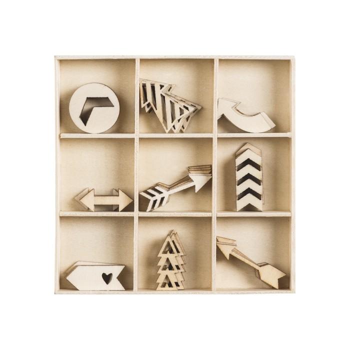 Wood ornament box Arrows, 48 pcs