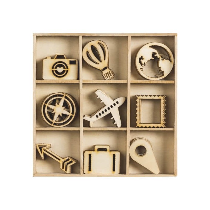 Wood ornament box Trip, 48 pcs