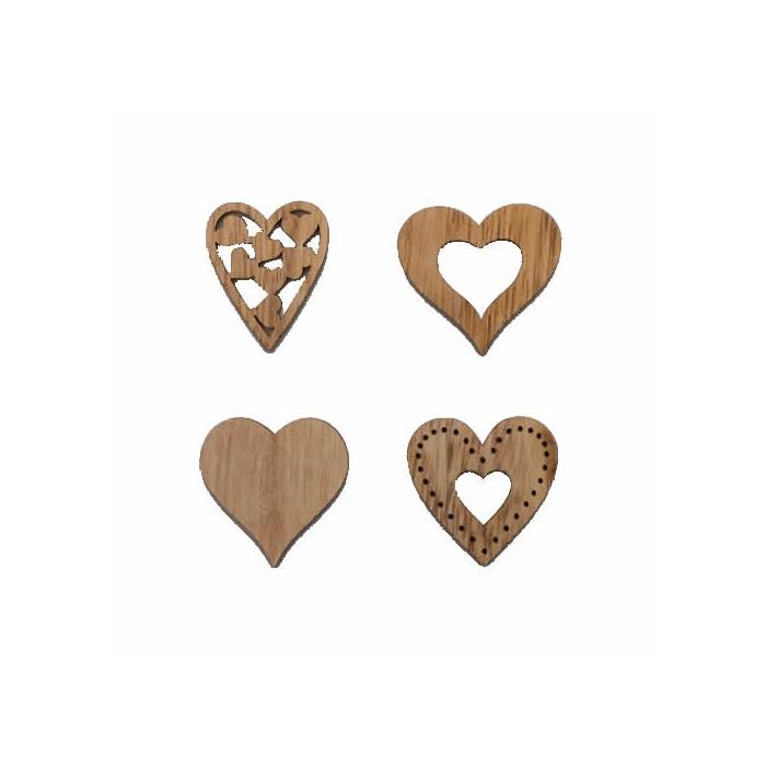 Coeurs en bois Ravenna, 30-40mm, 8 pcs