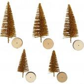 Sapins avec socle en bois, or, 5 pcs