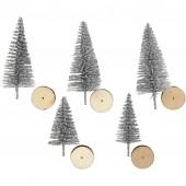 Weihnachtsbaüme Holzsockel, silber, 5 Stk