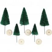 Weihnachtsbaüme Holzsockel, grün, 5 Stk