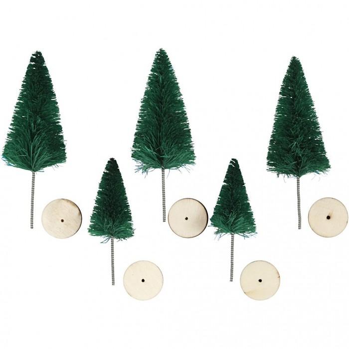 Sapins avec socle en bois, vert, 5 pcs