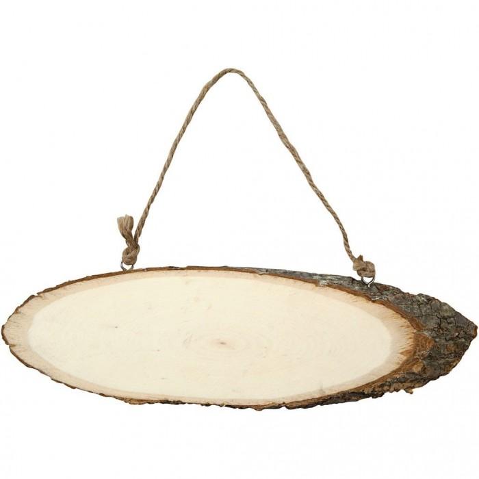Tranche de bois avec attache, 23-28cm