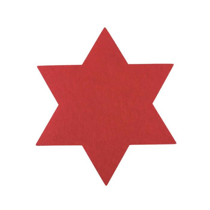 Placemat Star, red felt, 35cm