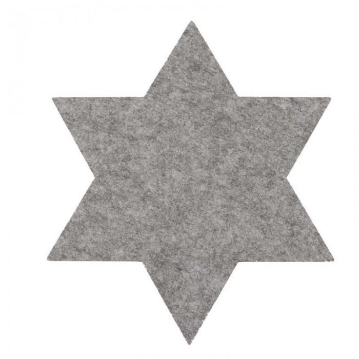 Set de table en feutre gris, étoile, 35cm